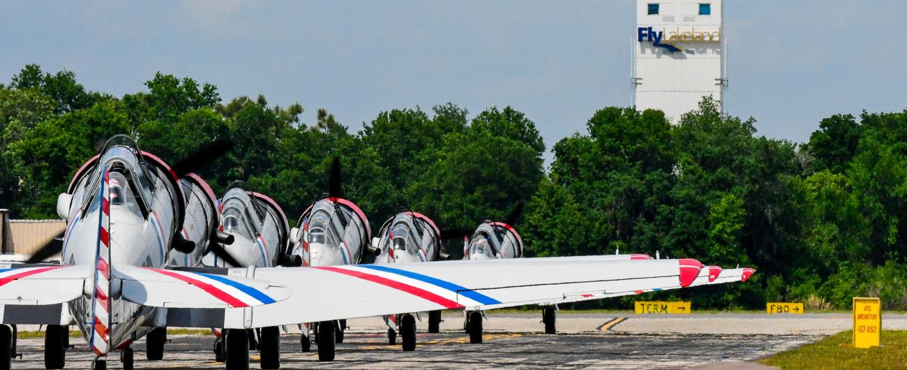 Planes lined up at Fly Lakeland
