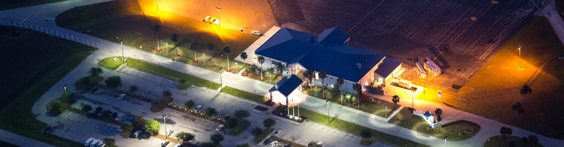 Night time image of Lakeland Airport Offices