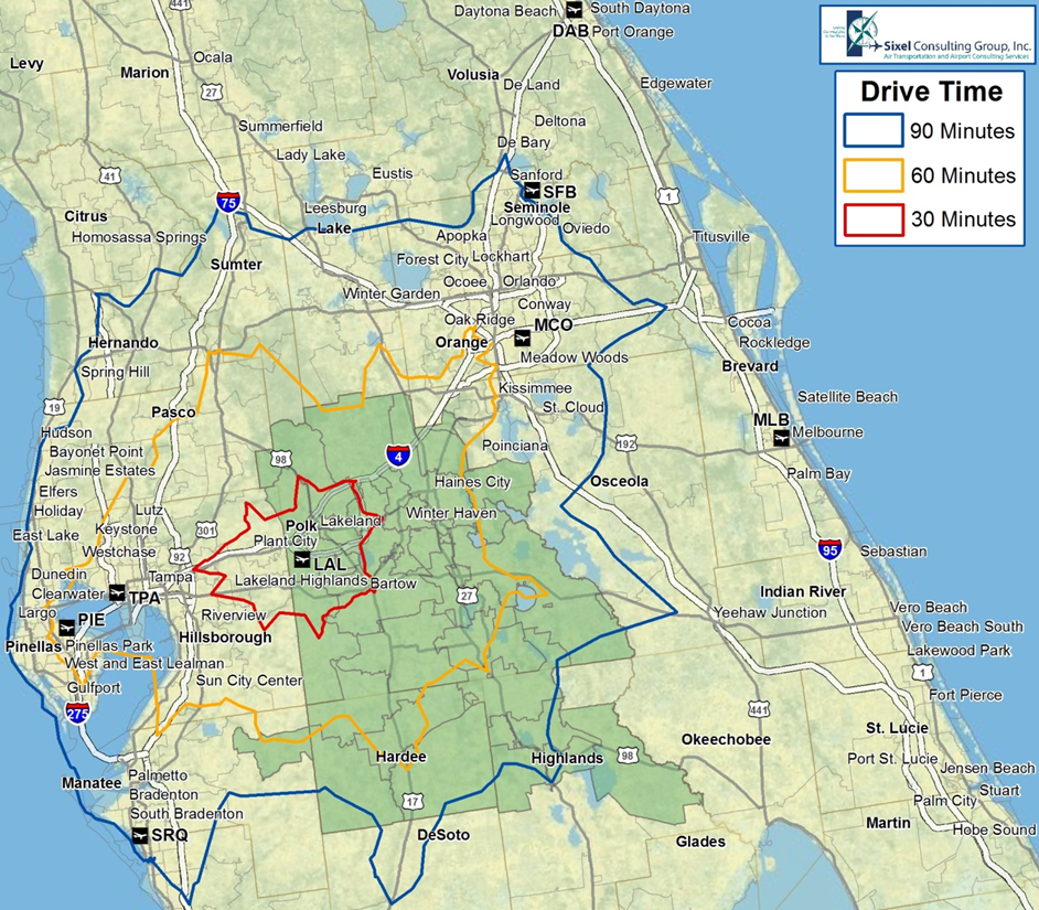 This is a map of the middle Florida Region with 3 outlines around the Lakeland Airport that shows the drive times between 30, 60, and 90 minutes.